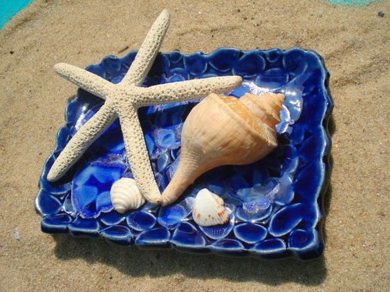 Blue Beach Stones Ceramic Dish with sapphire by MagicMoonPottery, $18.00