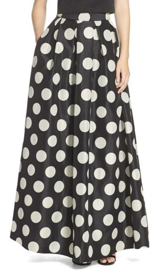 Black and White Polka Dot Ball Gown Skirt