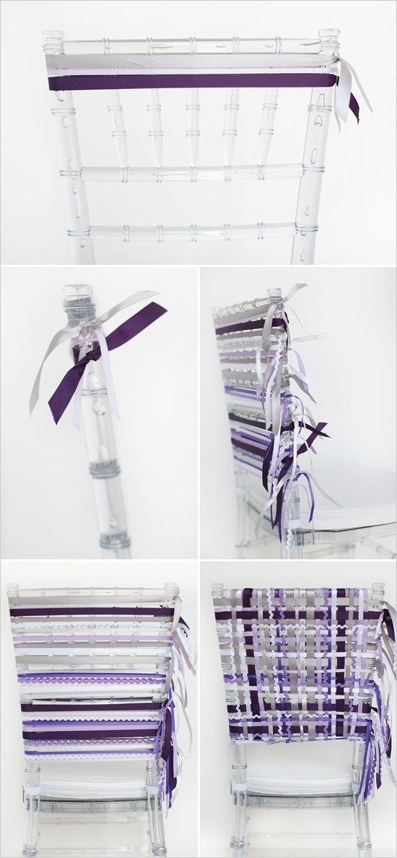DIY purple ribbon wrapped wedding chair