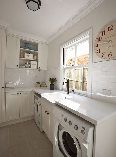All white laundry room laundry room ideas pinterest for Mudroom sink ideas