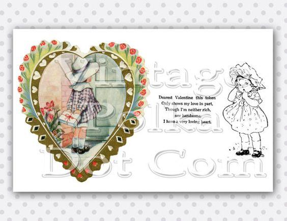 Printable Valentine Vintage Clip Art Card Children's Graphics ...