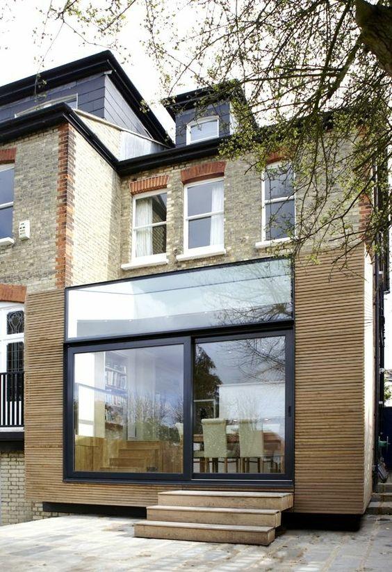 moderne fassade mit stein und holz pg33 pinterest. Black Bedroom Furniture Sets. Home Design Ideas
