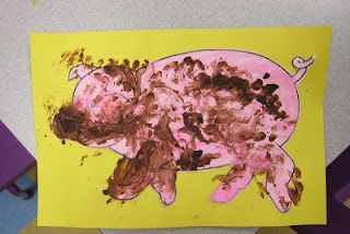 """Muddy Pigs!    Mix sand, oatmeal, and brown paint to make """"mud.""""  Then let the kids spread it on their piggies!"""