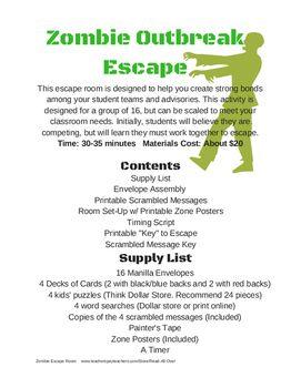 photograph regarding Printable Escape Room Free titled Distinctive Staff members Builder: Zombie Outbreak Escape House Schoolio