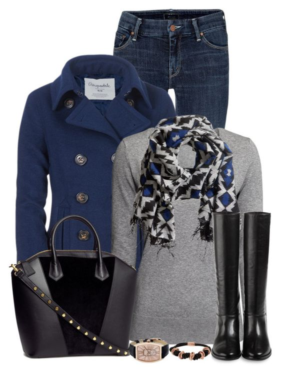 """Untitled #385"" by denise-schmeltzer ❤ liked on Polyvore featuring Mother, Aéropostale, H&M, Cole Haan and Bronzo Italia"