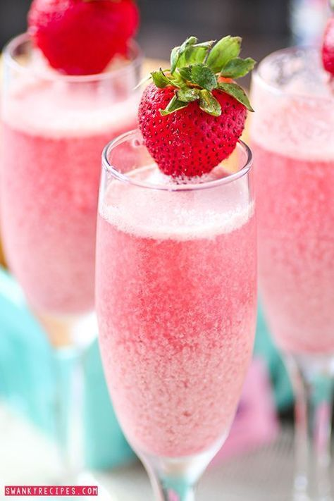Strawberry Cream Mimosas - Bubbly sparkling champagne with refreshing raspberry and strawberry frozen cream