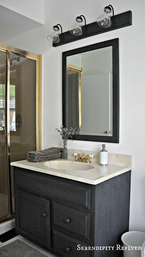Diy spray paint metal bath fixtures oak and brass for Oak bathroom light fixtures