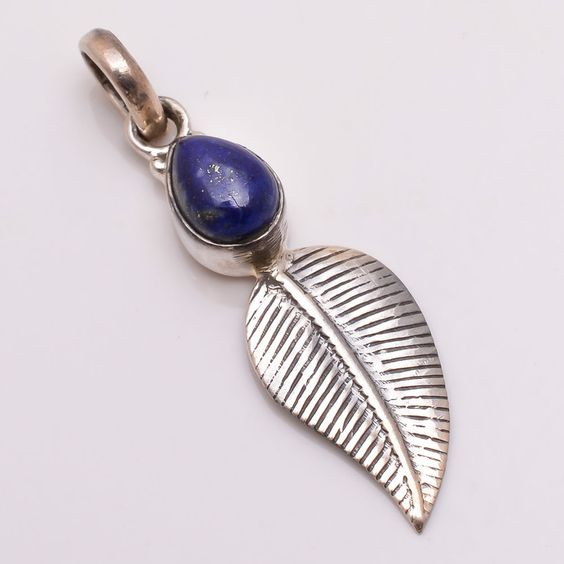 925 Solid Sterling Silver Pendant, Natural Lapis Gemstone Handmade Jewelry P446 #Handmade #Pendant