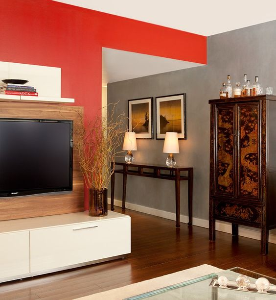 Grey with red accent wall just a thought new house - Accent colors for gray living room ...