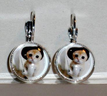 Ohrringe Katze Tier Modeschmuck handgefertigt Ohrschmuck Damen Hänger Glas Legierung Neuware