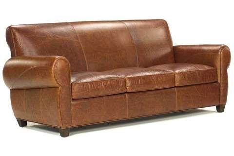 Weston Designer Style Leather Pillow Back Sofa W Contrasting Nailhead Trim Rustic Leather Sofa Leather Sleeper Sofa Leather Furniture