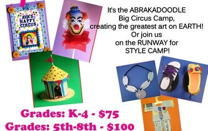 Monday, March 18, 2013 - 9:00am - Friday, March 22, 2013 - 12:00pm    Two Creative Art Camps:  Circus Camp and Savvy Fashionista