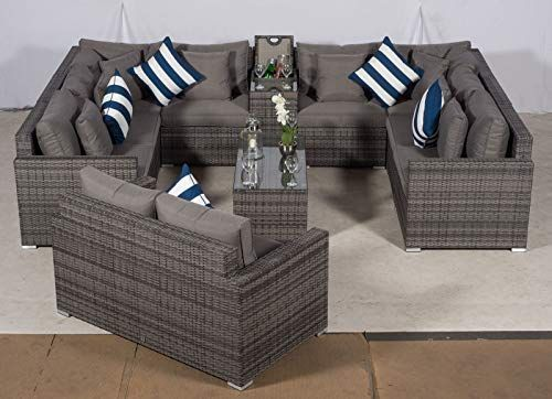 Giardino Havana 8 Seater Grey U Shaped Rattan Sofa Conversation Set 2 Seat Sof S Outdoor Furniture Covers Small Living Room Decor Rattan Furniture Set