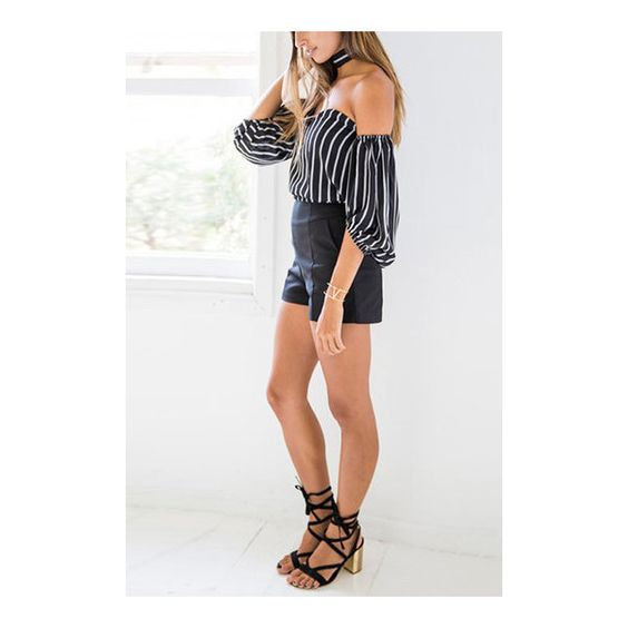 Yoins Black Sexy Stripe Pattern Off Shoulder Top (32 BAM) ❤ liked on Polyvore featuring tops, striped off shoulder top, striped top, striped off the shoulder top, off shoulder tops and sexy tops