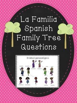 freebie la familia spanish family tree questions worksheet escuela la familia pinterest. Black Bedroom Furniture Sets. Home Design Ideas