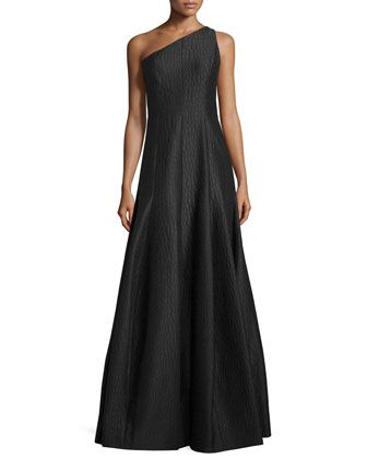 One-Shoulder Textured A-Line Gown, Black by Halston Heritage at Neiman Marcus.