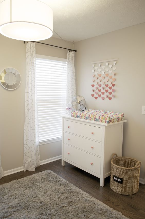 Emma's Nursery #floatinghearts (laundry basket idea from Dana with @HouseTweaking, love her!)