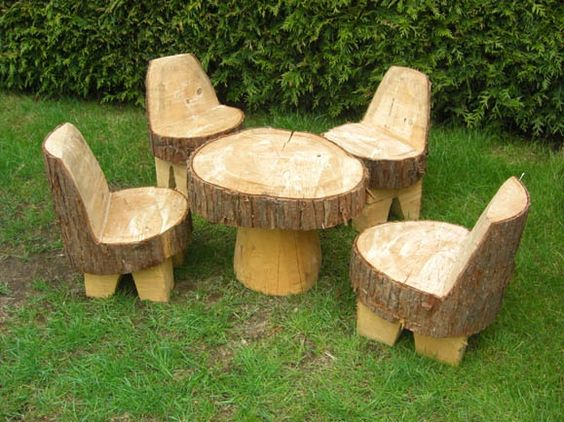 . Furniture made from tree trunks     Pinteres