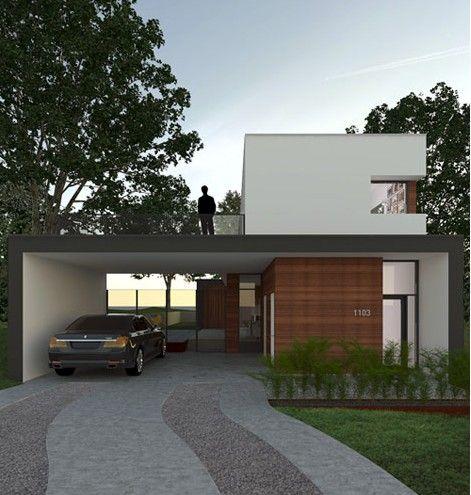 Haus Mit Carport Flachdach Dachuberstand Holz Farbe Pinterest