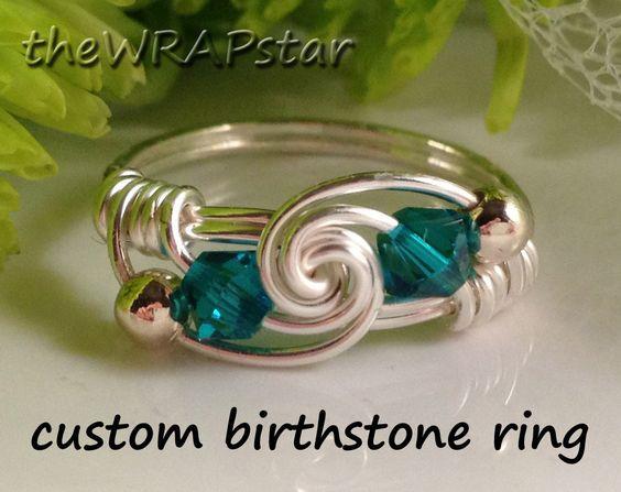 Birthstone Ring Garnet Amethyst Aquamarine Emerald by theWRAPstar: