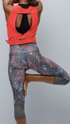 print high-waist crop leggings paired with a backless tank