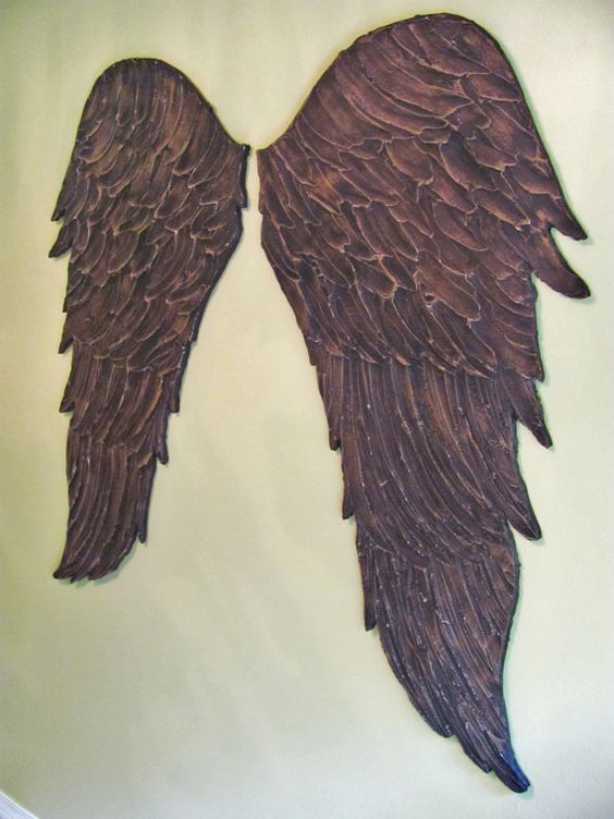 Feather Angel Wings Wall Decor : Feather wall art hand made and angel wings on