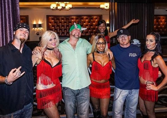 """Stars of History Channel's """"Counting Cars"""" Celebrate Premiere at the D Las Vegas (Pictured: Ryan Evans, Horny Mike and Rock N Roli with Dancing Dealers – Photo credit: Glen Brogan)."""
