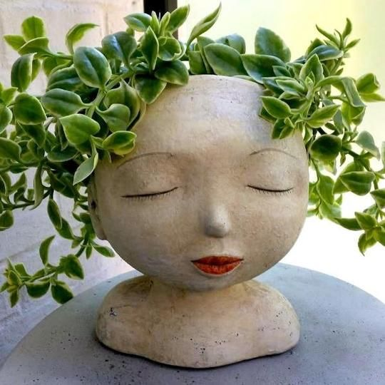 Lady Of The Forest Head Planter Head Planters Garden Pottery