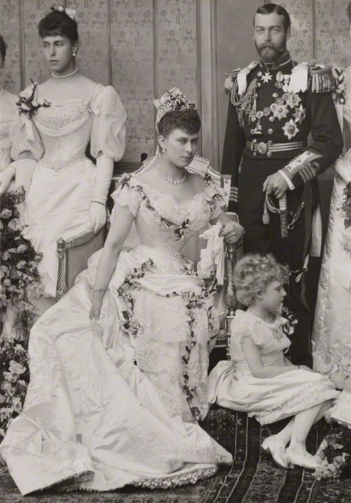 facesofthevictorianera:  Queen Mary and King George V on their wedding day (July 6, 1893)