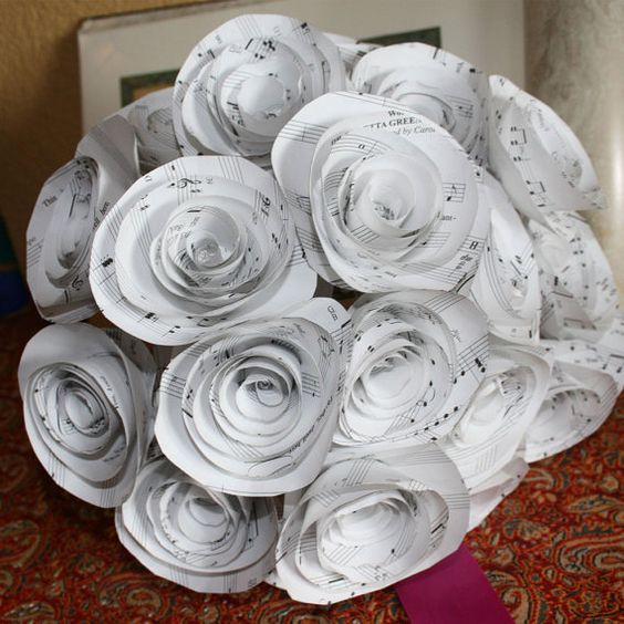 Wedding centerpiece Paper flowers ,10 sheet music Flowers. $35.00, via Etsy.