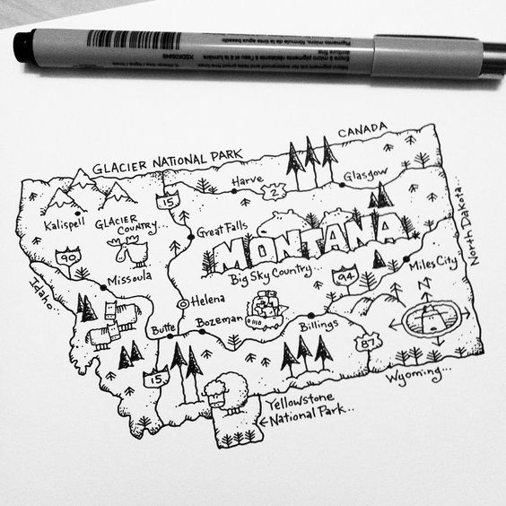 I M Working On A Us Map Project This Morning First Up Is Montana One Of My Fave Places To Visit 4 Pinteres