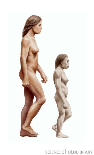Modern human and Homo floresiensis. Homo floresiensis overlapped with us, as recently as 18,000 years ago!