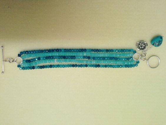 Blue silver and cristal bangle!!!