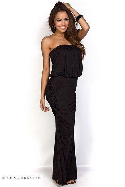 Venitra&quot Black Draped Casual Strapless Tube Top Maxi Dress  Tops ...