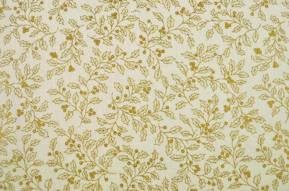 Onlinestoffe.de - Saisonstoffe und Artikel für alle Gelegenheiten | Dekorationsstoff Baumwolle - Stechpalmenzweige - Creme/Gold | online kaufen