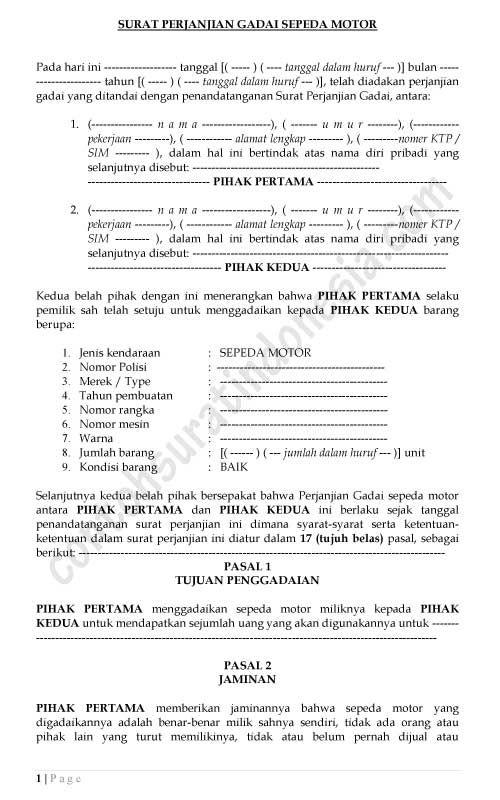 Contoh Surat Perjanjian Gadai Sepeda Motor Lengkap Surat Perjanjian Sepeda Motor Motor Surat
