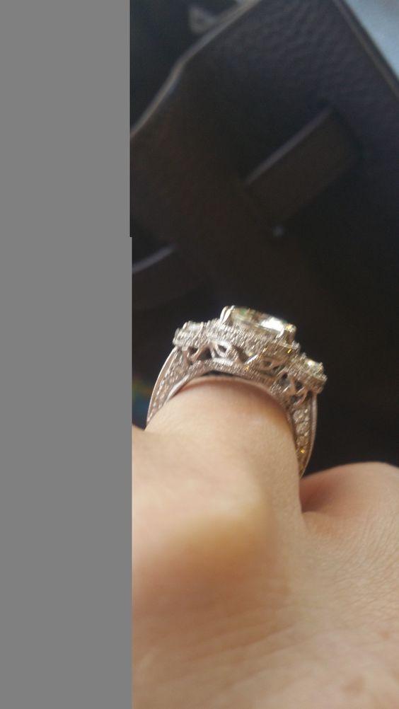 5.68ct Cushion Diamond & Half Moon Diamonds Engagement ring JEWELFORME BLUE GIA certified