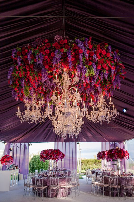 Red and Purple Floral Chandelier