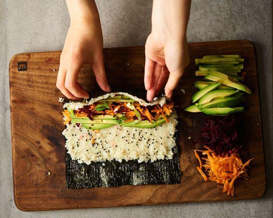 sushi, sushi roll, cauliflower sushi, paleo, paleo sushi, vegetarian, vegetarian sushi, cauliflower rice