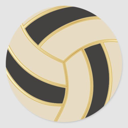 Volleyball Gold Black And Diy Background Color Classic Round Sticker Zazzle Com In 2020 Background Diy Colorful Backgrounds Volleyball Crafts