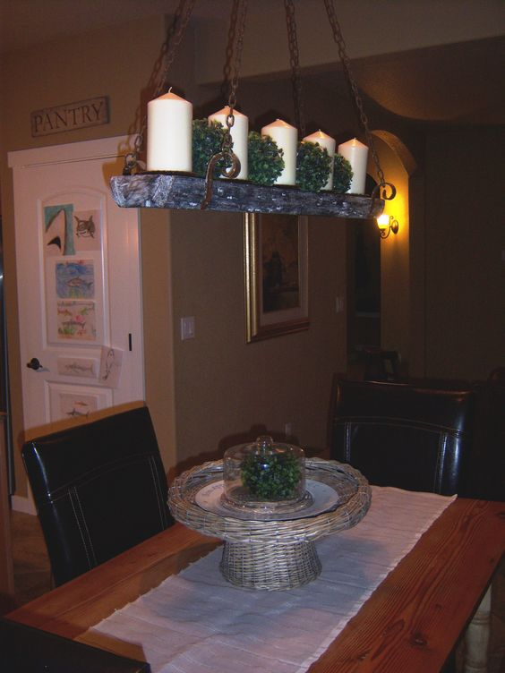 Kitchen Nook with Candle chandelier  http://littlebrags.blogspot.com