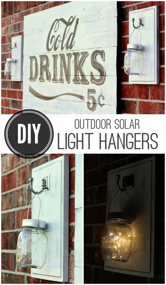 DIY Outdoor Solar Light Hangers on { lilluna.com } Great and simple project for the porch or