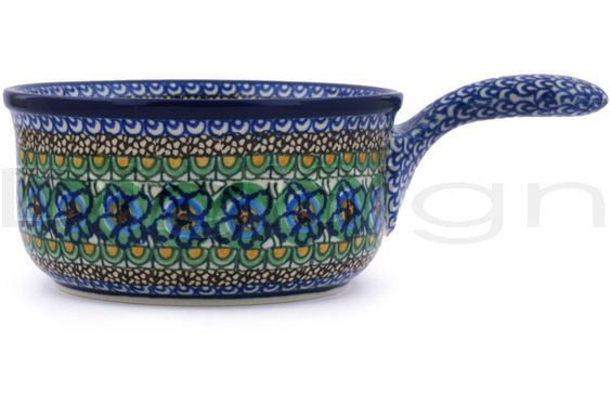 """Polish Pottery 10"""" Round Pot with Handle Moonlight Blossom"""