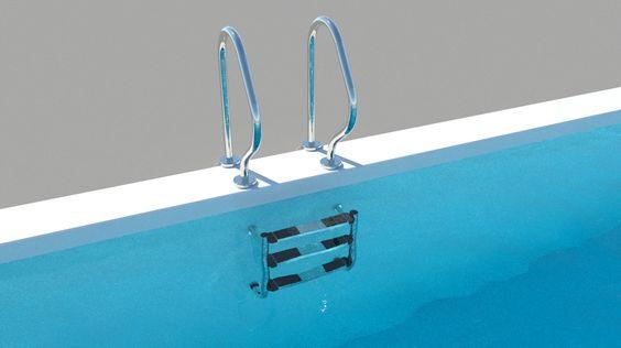 """Die kürzlich begonnene """"Bade"""" Serie wird diese Woche mit dem Objekt Pool Leiter geteilt für ARCHLine.XP und Thea Render fortgesetzt."""