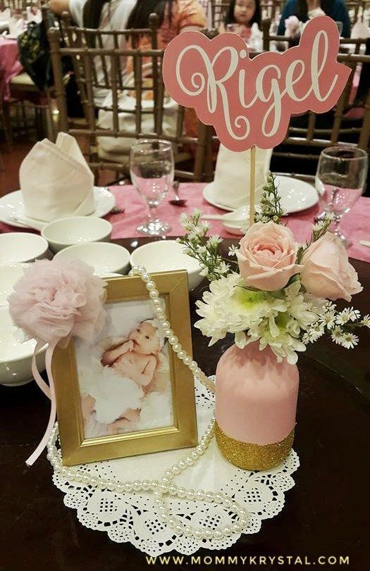 Table Centerpiece Pink And Gold Ballerina Inspired Baptism