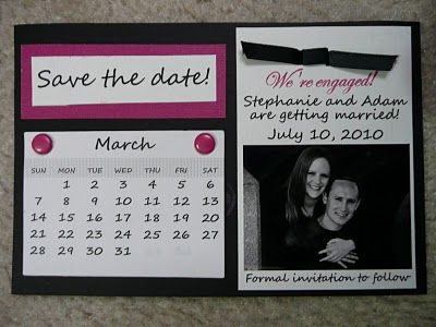 Our Save the Dates with a calendar. A ton of work but I loved them!