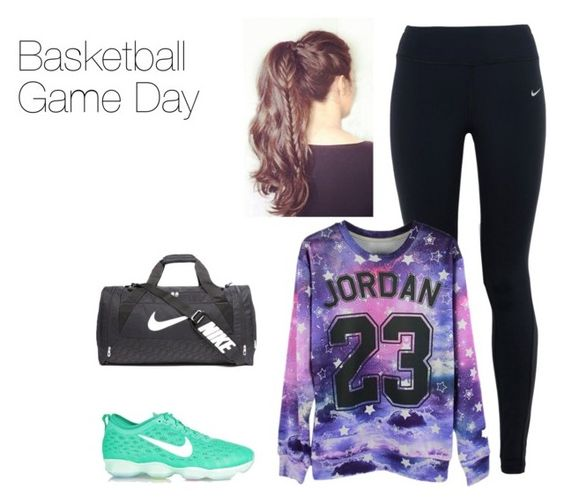 """Basketball Game Day"" by hockeymusiclife ❤ liked on Polyvore featuring NIKE, women's clothing, women's fashion, women, female, woman, misses and juniors"