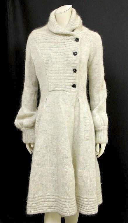 Celine Women's Jacket (Ladies Pre-owned Cream & Grey Wool & Mohair