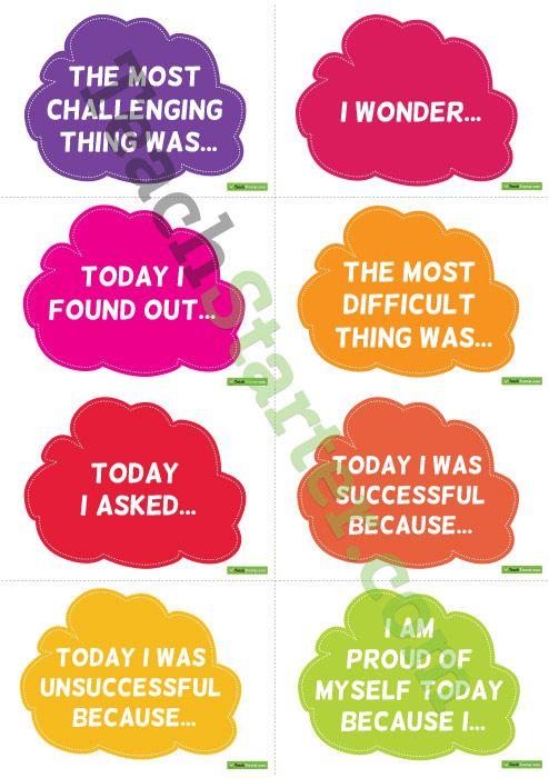 Reflective Thinking Sentence Starter Cards Teaching Resource