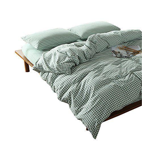 Orusa 3 Pieces Simple Green Plaid Duvet Cover Set 100 Cotton Chambray Bedding Sets Duvet Cover Sets Cotton Bedding Sets